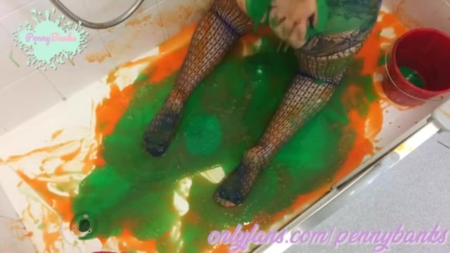 Horny BBW cant get enough of GUNGE over her huge natural tits and pussy 16