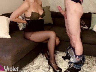 Hot Wife On High Heels Wants Cum On Her Tits