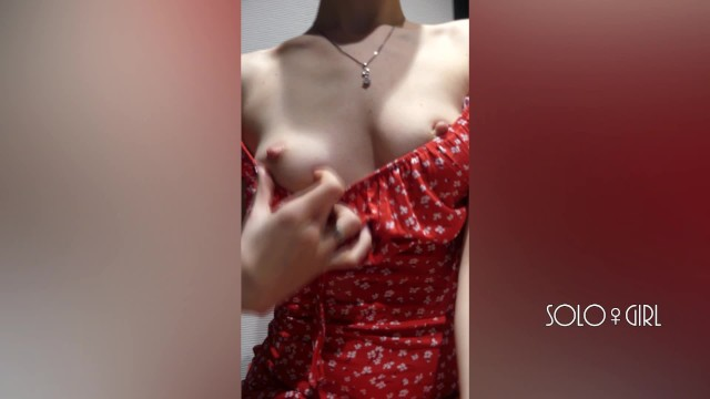 Dressing in masturbation room Innocent girl in a red dress public masturbation in a dressing room store
