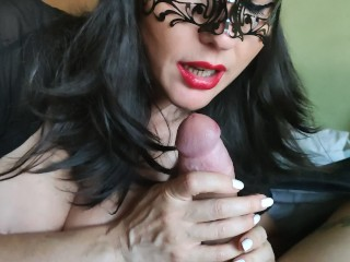 Masked Milf With Red Lips Pov Blowjob