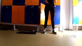Hidden cam in school locker room, innocent teen public masturbation