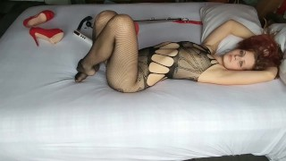 Redhead All Tied Up In Heels With Leg Spreader and Ball gag