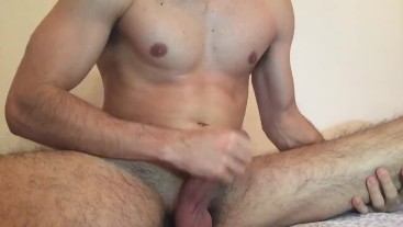 Shaved or not? Hot body masturbating and flexing