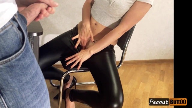 Cum leather pants Teaser wet looking leather pants mutual masturbation, legs fuck, shoejob, cum on clothes