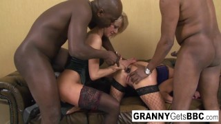 Two mature blondes have an interracial anal foursome!
