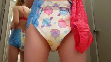 Diaper Girl Wets herself while Shopping Bras and Panties
