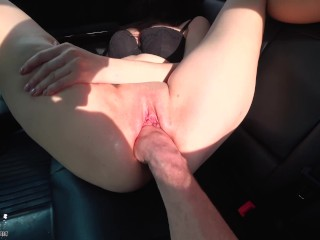 Husband Fisting Pussy and Ass Fucking in Car - Cum on Pussy