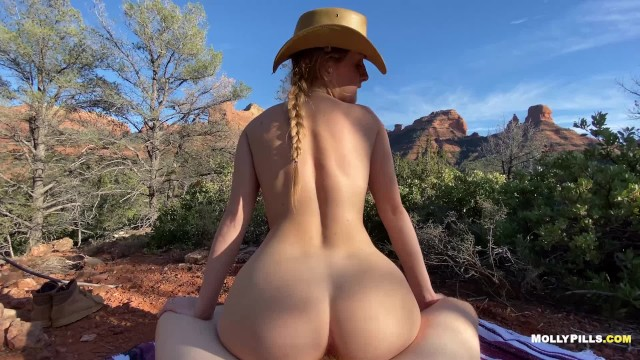 Big boob voyeur Cowgirl rides big cock in the mountains - molly pills - public adventure sex pov