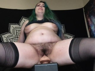 CHUBBY GIRLFRIEND W/ HAIRY PUSSY RIDES YOUR BIG DICK POV