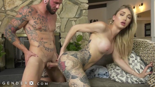 Genderx Tattooed Trans Babe Luna Love Hammered Hard