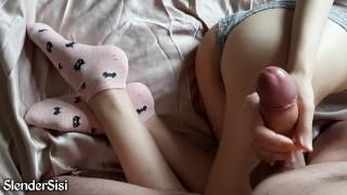 Skinny girl kitty fucked my dick in cute socks for a long time | SlenderSisi