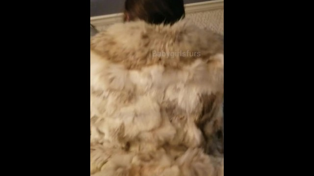 Latex clear coat Babygirl getting fucked in her fox coat