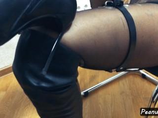 Teaser kneehigh boots harness mutual masturbation legjob knee...