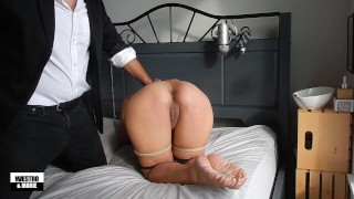 Maestro flogs and spanks amateur MILF Marie's pretty feet and ass