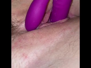 Close up wet pussy fingering and clit vibrating whilst thinking of her tongue