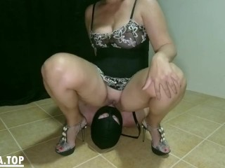 Peeing in his mouth femdom pee and cleanup...
