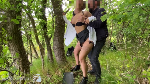 Adult down blouse Sexy secretary used outdoors in the woods - rough ripping her white blouse