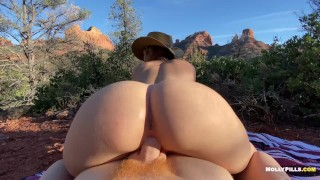Cowgirl Rides Big Cock in the Mountains - Molly Pills - Outdoor Sex POV