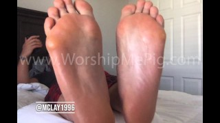 Master Clay Shows off his enormousarmy feet and verbally humiliates his slave