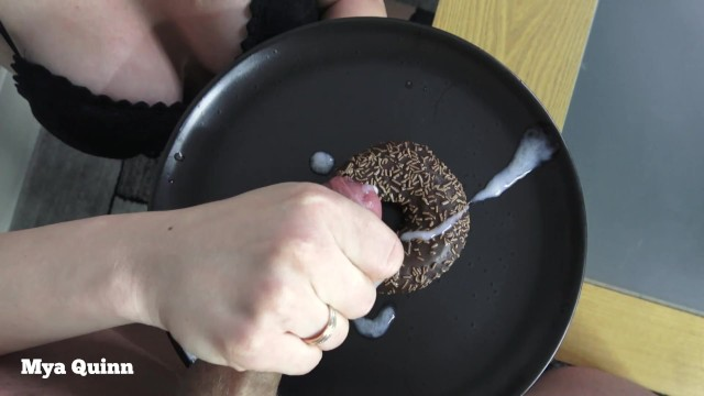 Asian food suppliers Cum on food - eating sperm chocolate doughnut and spit blowjob - mya quinn