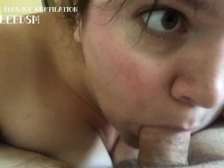 Beautiful wide eyed enthusiastic small cock blowjob on...