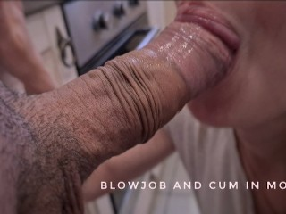He Washed The Dishes And I Gave Him A Blowjob And Got His Cum