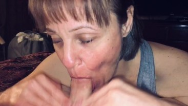 Mature Milf wife love's sucking cock & swallowing cum