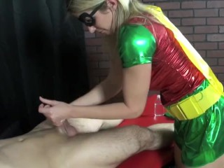 Robin gives Catwomans henchman a handjob starring Cory Chase and Alexis Rain