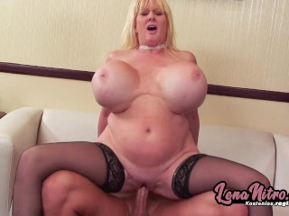 Blonde Milf With Huge Tits Gets Boned On The Sofa