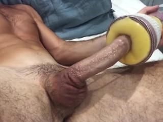 Straight cock fucks homemade sex toy...