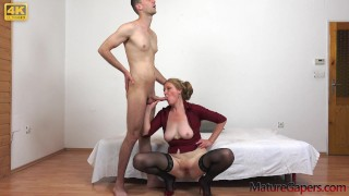 Young man gapes pussy and anally fucks a wet horny granny