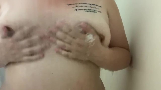 Rubbing my boobs in the shower 8