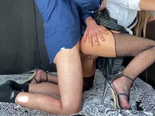 Slut School Girl In Mini Skirt, Fishnets & Heels Fucks Her Teacher & Gets Cum On Chest & Tits