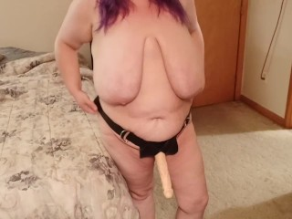 Bbw trying on king dong strap on...