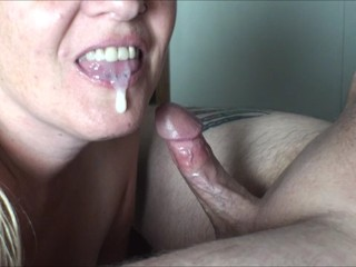 MILF wife gives perfect 20min deepthroat blowjob with throbbing oral creampie closeup cumshot