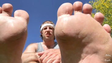 JOI: Jogger Gives Pansy An Outside Foot Dom & Worship
