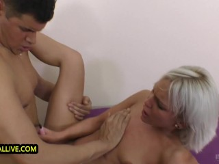 ROUGH SEX LOVING BLONDE MADE to SQUIRT & HUGE LOAD of CUM INTO HER CUNT!