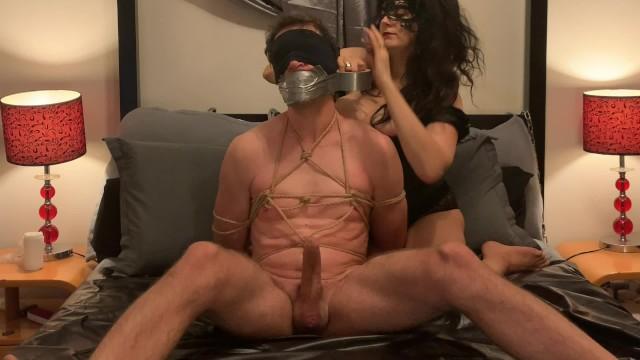Handjob on panties Bondage slave gagged with mistresss dirty panties and handjobbed