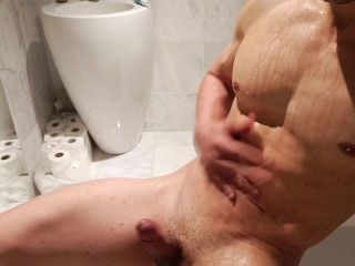 Hunk pees showers and cums all at the...