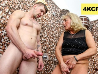 Cfnm granny rubs hot jizz onto her worn...