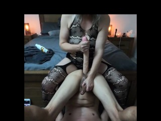 Stretching with big dildo pay back for his...