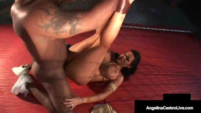 Cuban BBW Angelina Castro Fucks Big Black Cock In Fight Cage