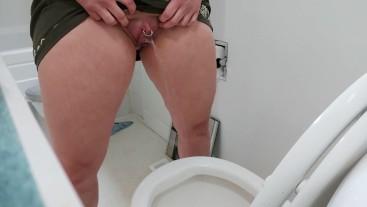 Practicing my aim (lots of pee got on the floor!)