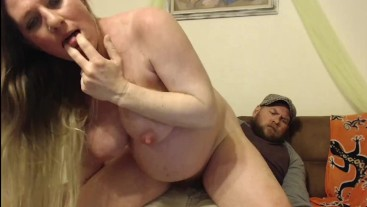 Pregnant Milf Riding The Dude's Cock Reverse Cowgirl on Couch