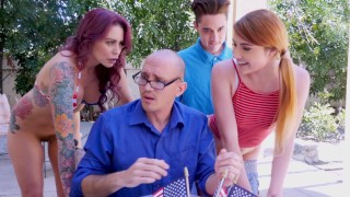 Screen Capture of Video Titled: BANGBROS - Awesome 4th Of July Threesome With Monique Alexander, Adria Rae & Juan El Caballo Loco