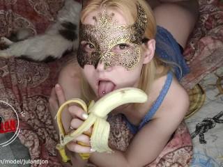 Deepthroat training teen show deep dlowjob with banana...