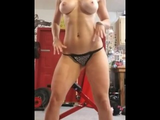 Fit milf working out naked in gym