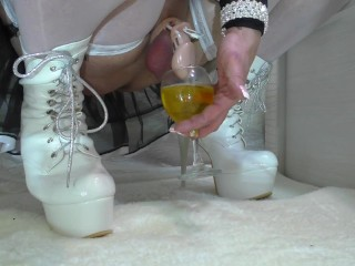 Shemale gold shower pissing chastity high heels gold...