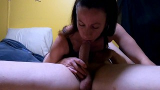 Piss whore doesn't miss a drop before sloppiest throat fuck until he cums. Angle 1 HOT!