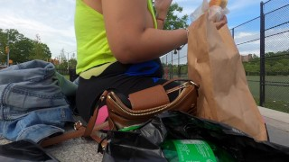 Day with Wife no bra side boob shirt with pierced nipples in public flashing